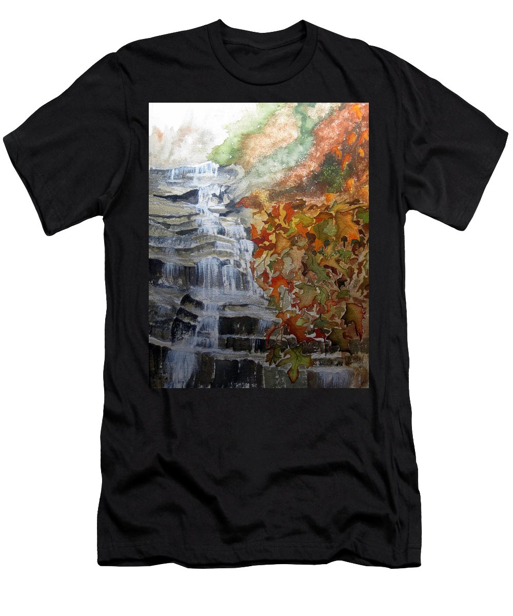 Water Fall Men's T-Shirt (Athletic Fit) featuring the painting Fall Leaves by Julia RIETZ