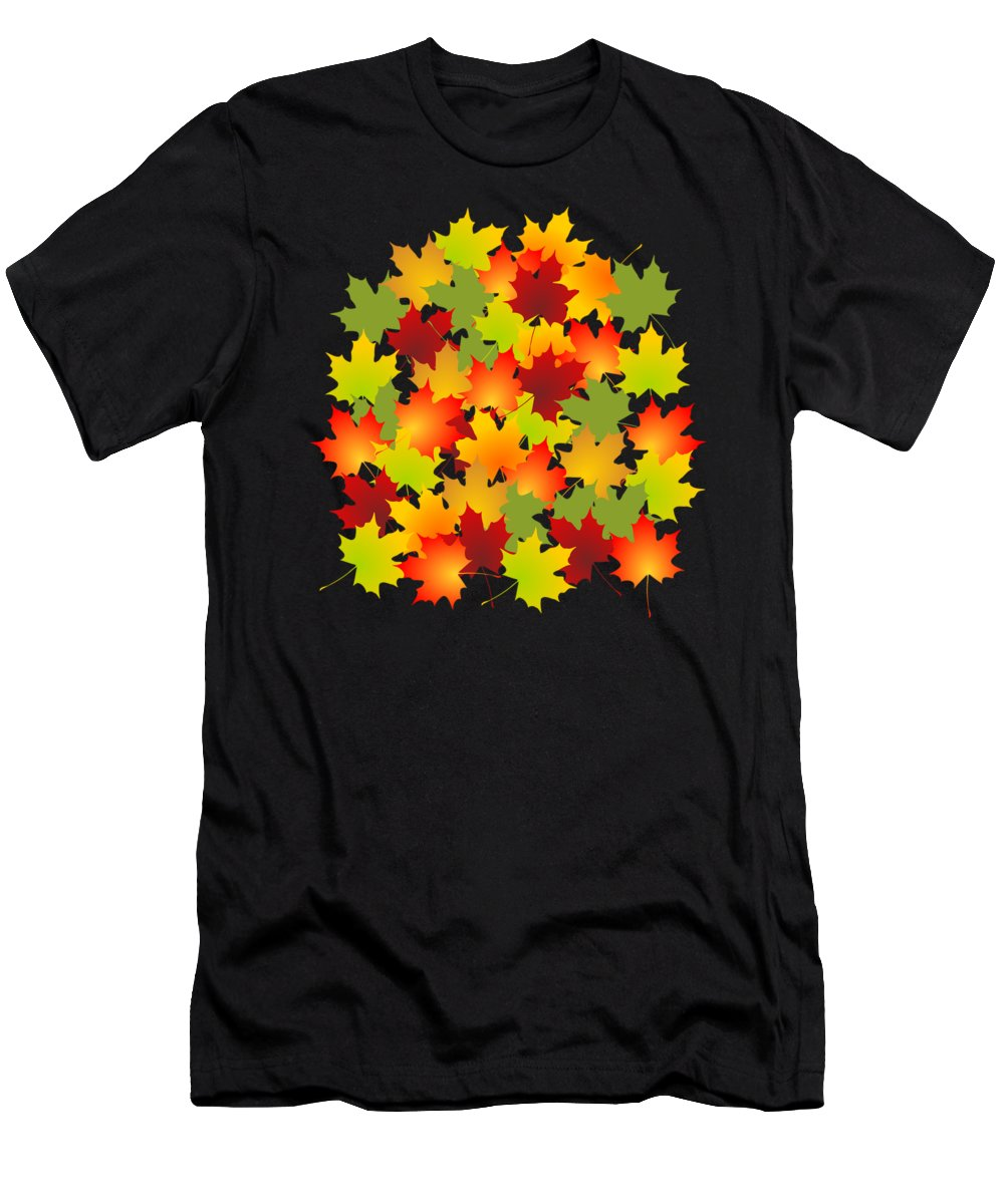 Fall Men's T-Shirt (Athletic Fit) featuring the mixed media Fall Leaves Quilt by Anastasiya Malakhova