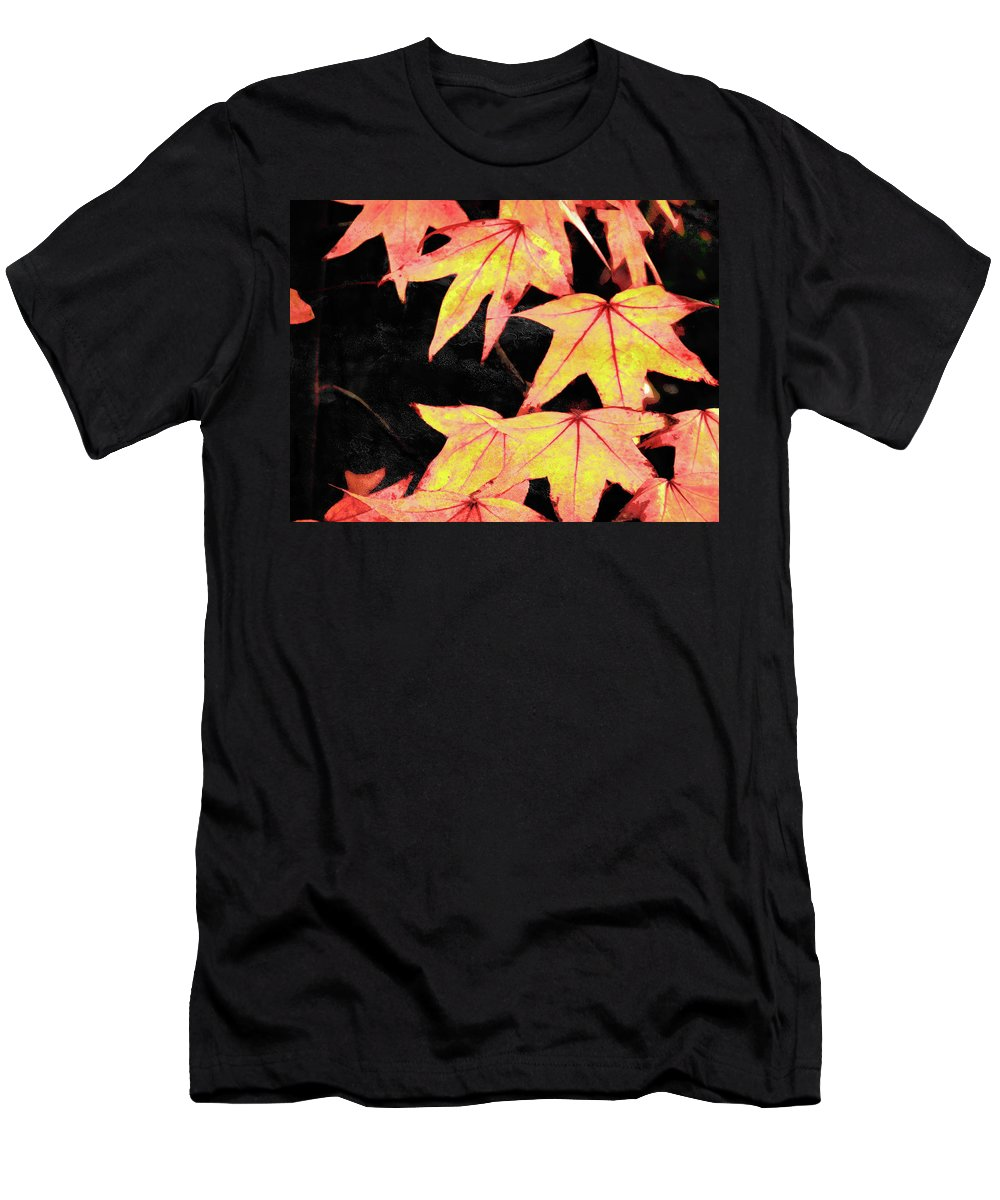 Leaves Men's T-Shirt (Athletic Fit) featuring the photograph Fall Leaves by Robert Ball