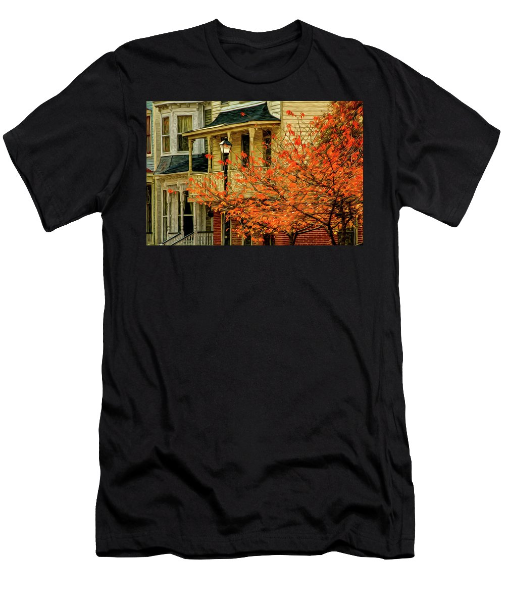 Horizontal Men's T-Shirt (Athletic Fit) featuring the digital art Fall Leaves by Robert Meyerson