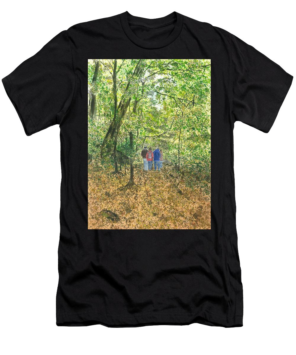 Watercolor Men's T-Shirt (Athletic Fit) featuring the painting Fall Nymphs - IIi by Joel Deutsch