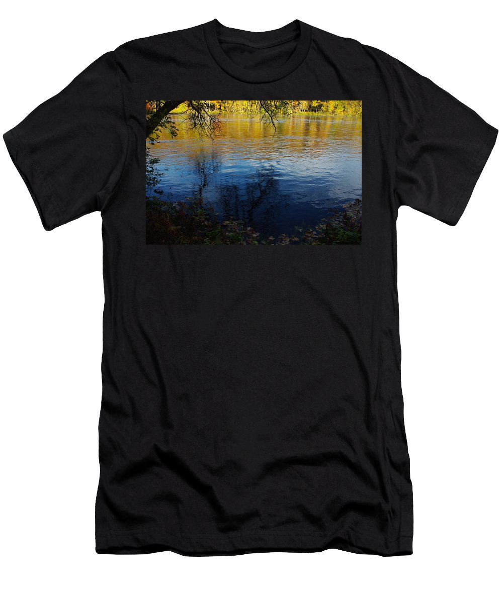 Fall Men's T-Shirt (Athletic Fit) featuring the photograph Fall Reflection At The River 2 by Alice Markham