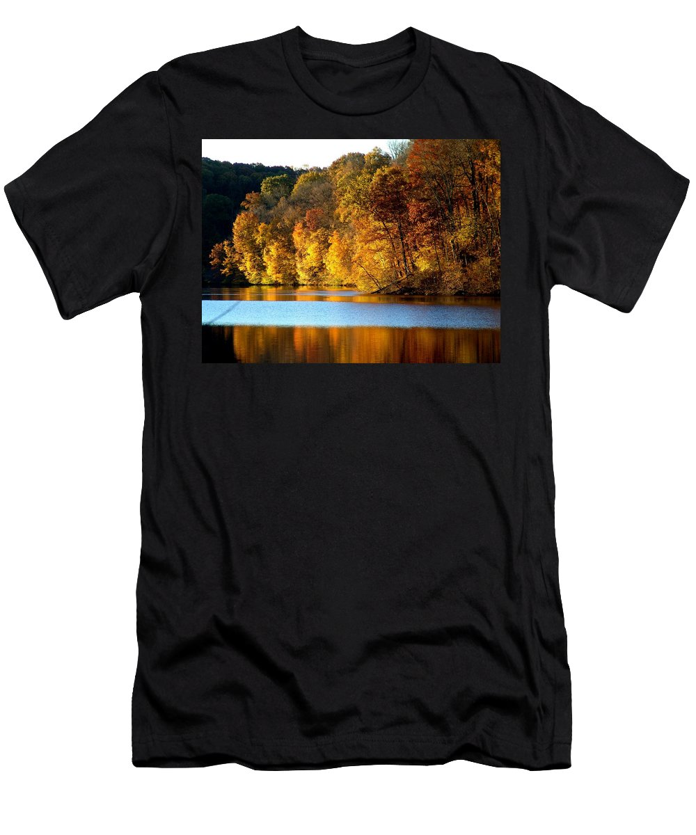 Trees Men's T-Shirt (Athletic Fit) featuring the photograph Fall Reflections Of Indiana by Carol Milisen
