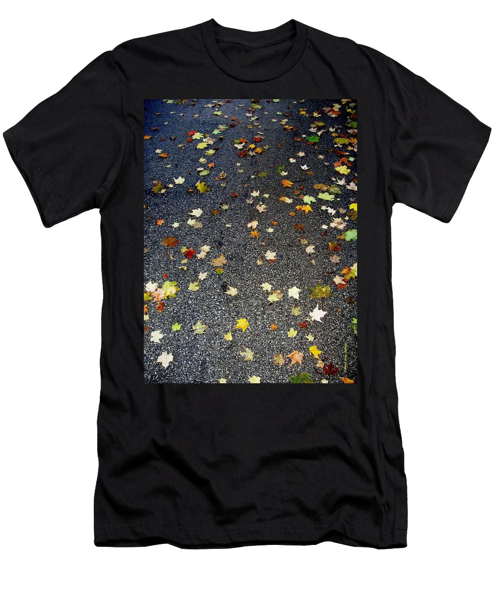 Leaves Men's T-Shirt (Athletic Fit) featuring the photograph Fall Sparkle by Deborah Crew-Johnson