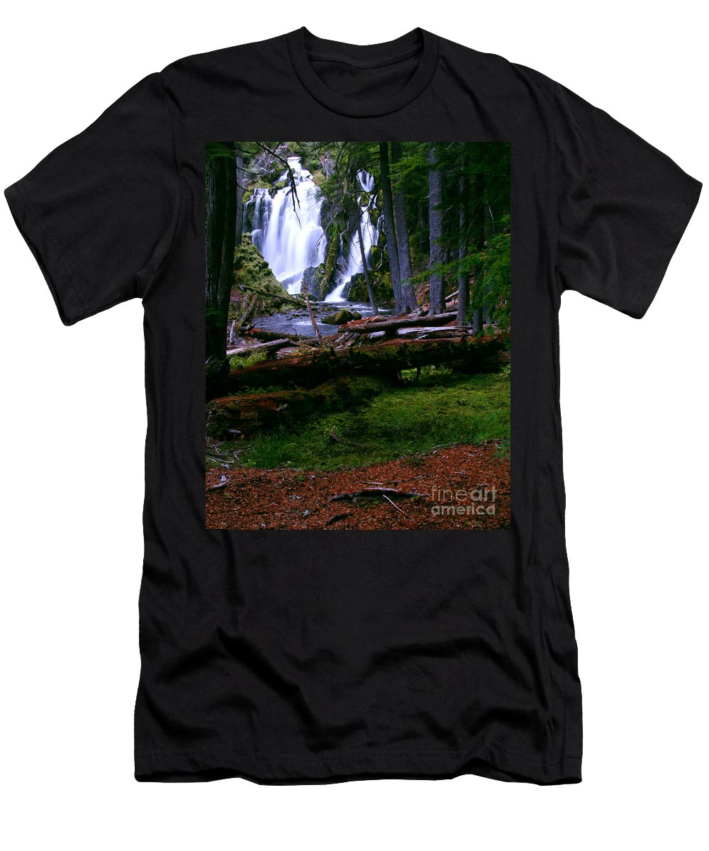 Waterfall Men's T-Shirt (Athletic Fit) featuring the photograph Fall Through by Peter Piatt