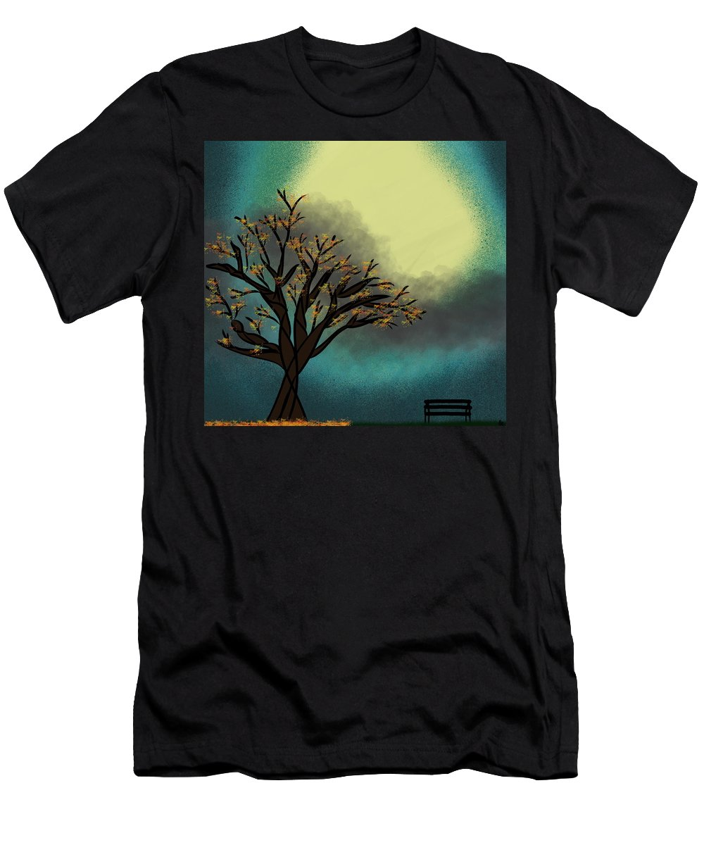 Abstract Tree Men's T-Shirt (Athletic Fit) featuring the digital art Fall Time Break by Morgan Payne