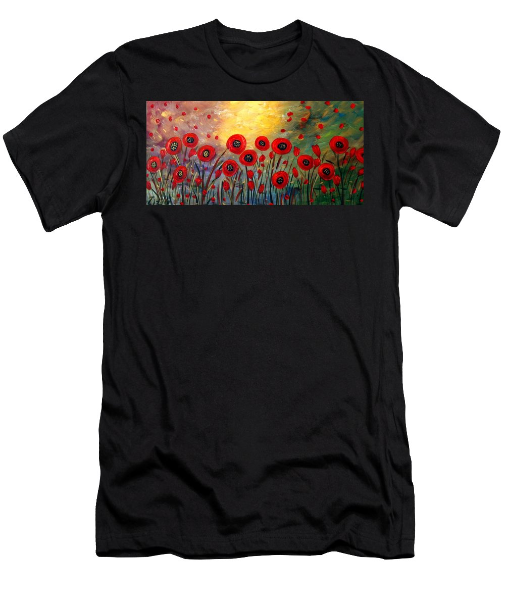 Flowers Men's T-Shirt (Athletic Fit) featuring the painting Fall Time Poppies by Luiza Vizoli
