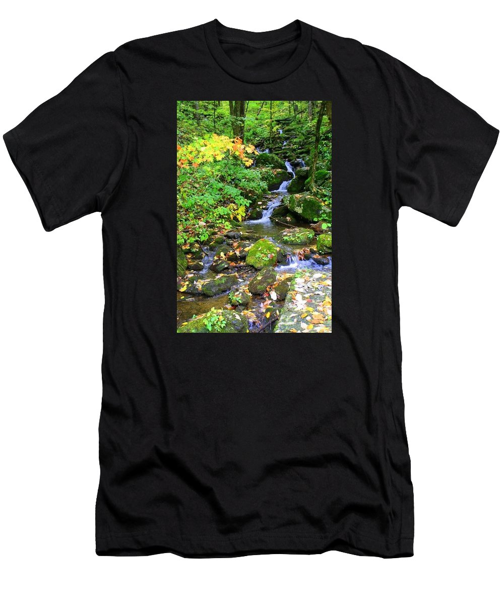 Mountain Men's T-Shirt (Athletic Fit) featuring the photograph Fall Waterfall by Denisse Stanbery