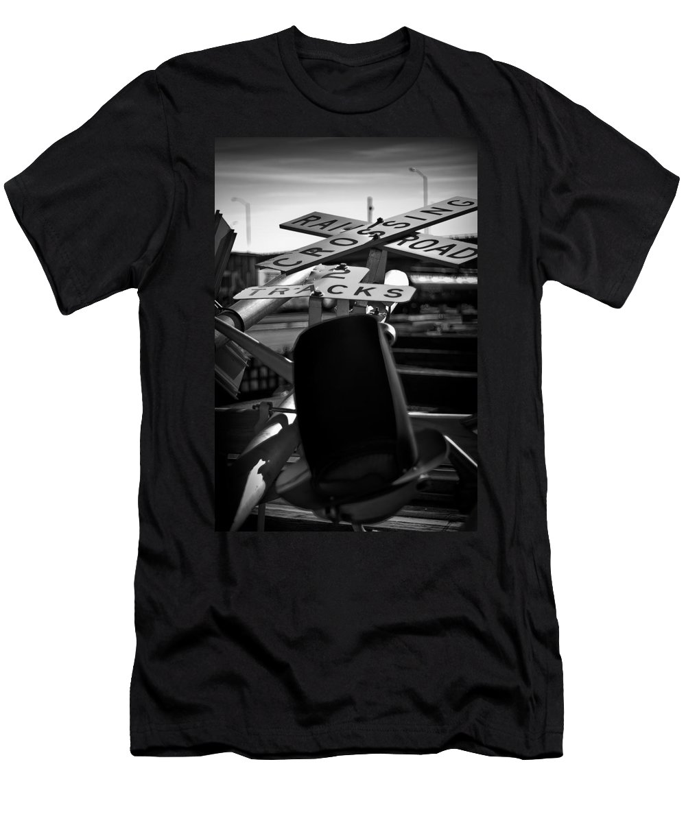 Black And White Photograph Men's T-Shirt (Athletic Fit) featuring the photograph Fallen by Mike Oistad