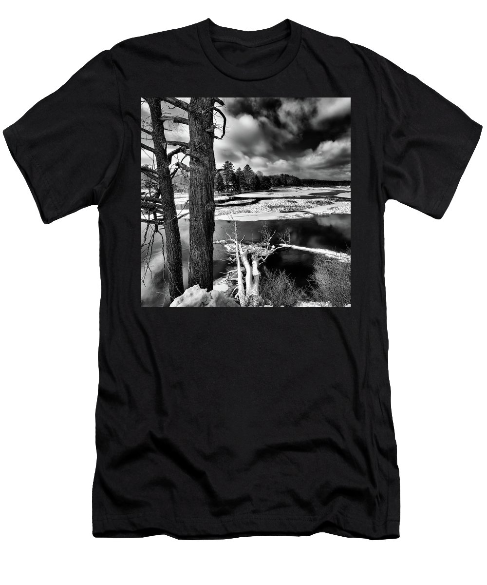 Landscapes Men's T-Shirt (Athletic Fit) featuring the photograph Fallen Trees In The Moose River by David Patterson