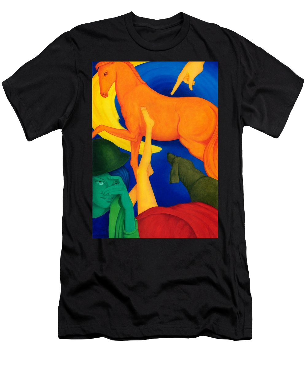 Surreal Men's T-Shirt (Athletic Fit) featuring the painting Falling Down. by Andrzej Pietal