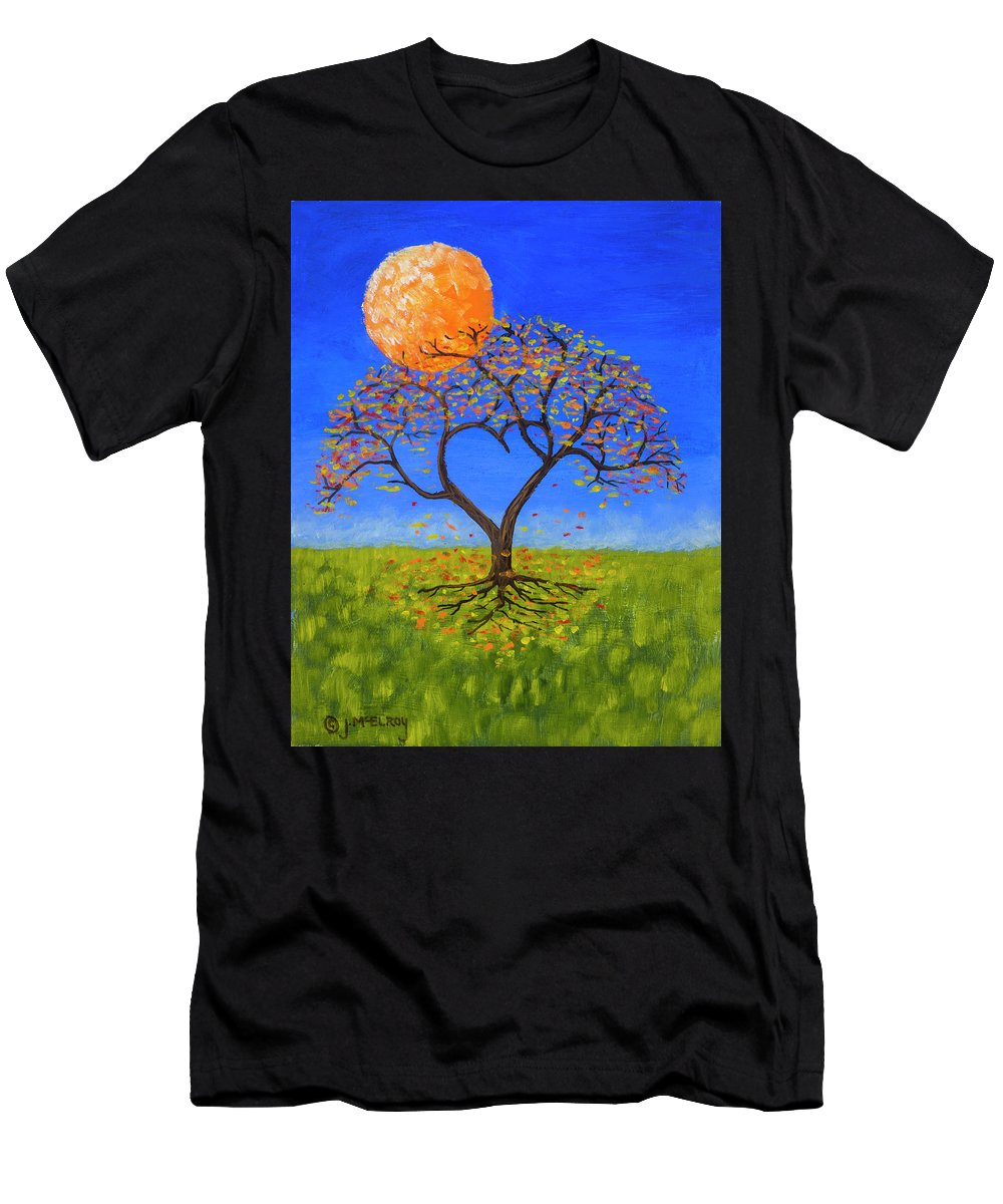Love Men's T-Shirt (Athletic Fit) featuring the painting Falling For You by Jerry McElroy