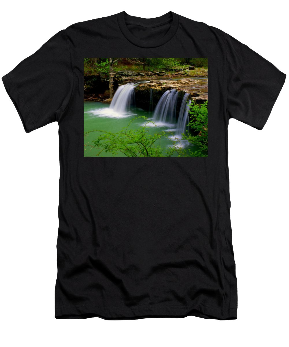 Waterfalls Men's T-Shirt (Athletic Fit) featuring the photograph Falling Water Falls by Marty Koch