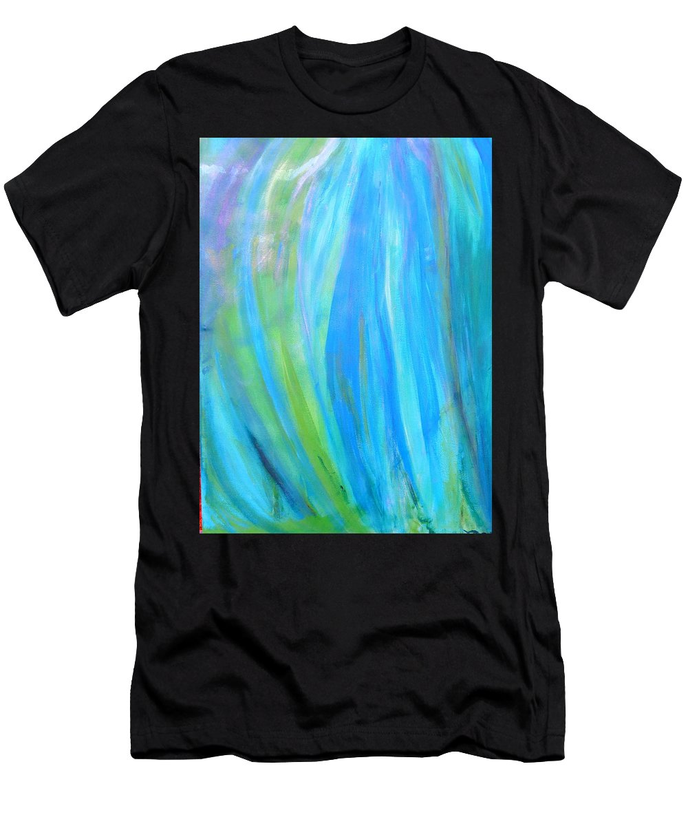 Abstract Water Men's T-Shirt (Athletic Fit) featuring the painting Falling Waters by Max Bowermeister