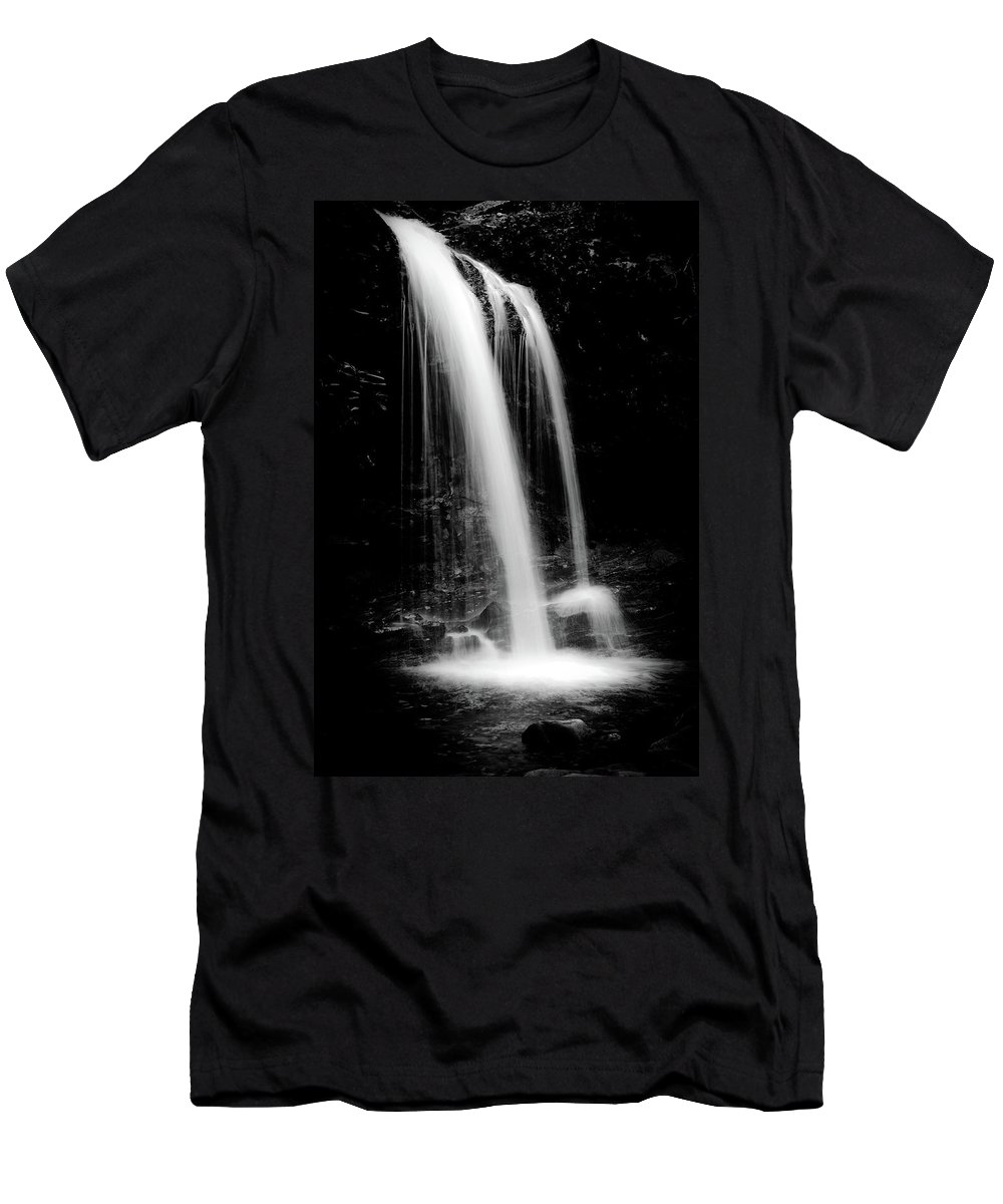 Waterfall Men's T-Shirt (Athletic Fit) featuring the photograph Falls In The Smokies by Steven Ford
