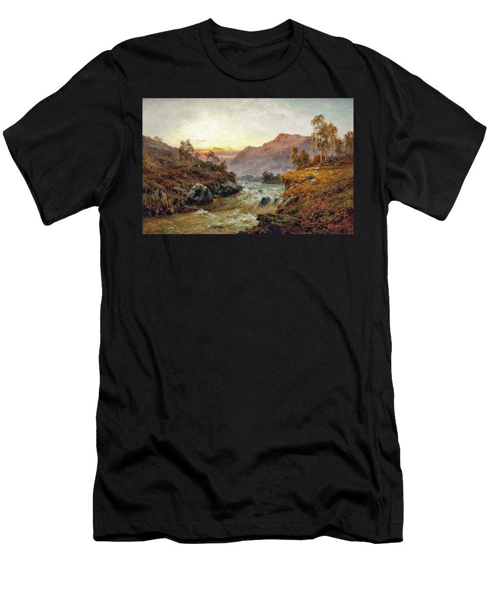 Alfred De Bréanski Men's T-Shirt (Athletic Fit) featuring the painting Falls Of Leney by MotionAge Designs