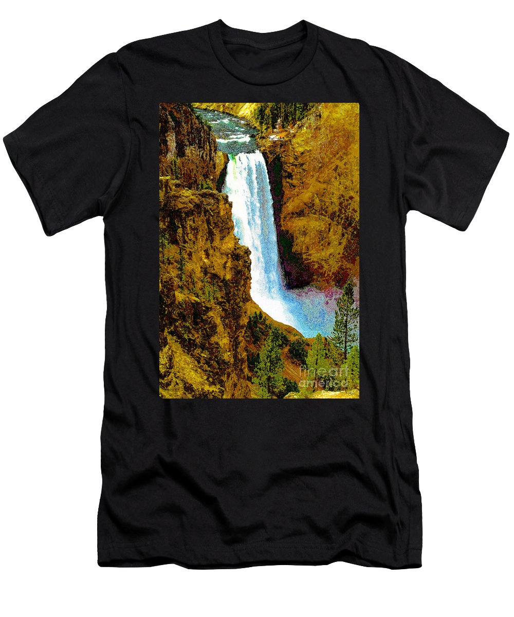 Yellowstone National Park Men's T-Shirt (Athletic Fit) featuring the painting Falls Of The Yellowstone by David Lee Thompson