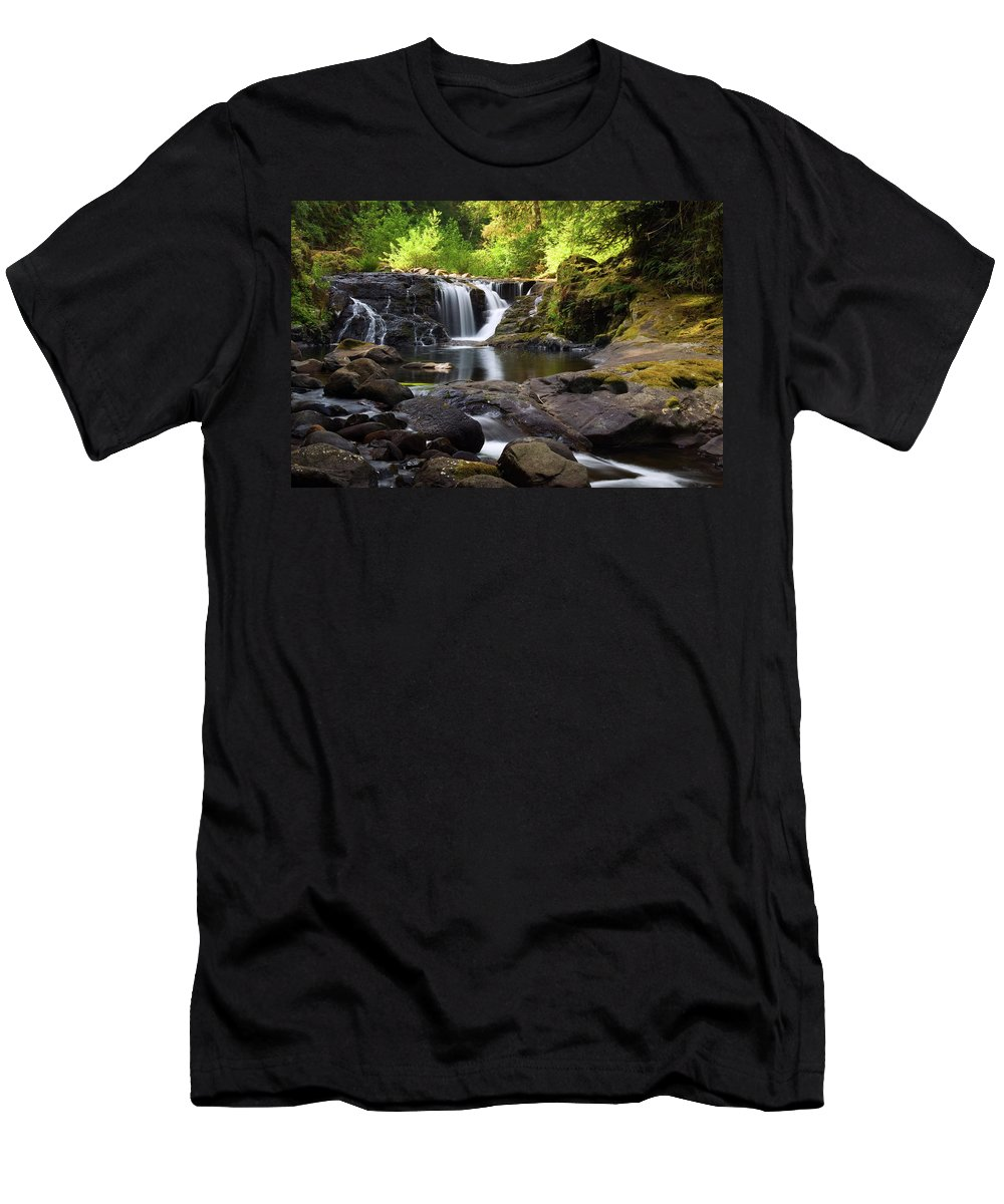 Sweet Creek Men's T-Shirt (Athletic Fit) featuring the photograph Falls On Sweet Creek by Randall Ingalls