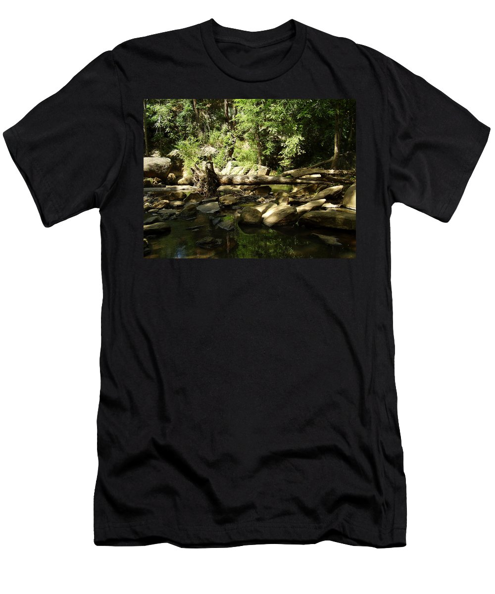 Falls Park Men's T-Shirt (Athletic Fit) featuring the photograph Falls Park by Flavia Westerwelle