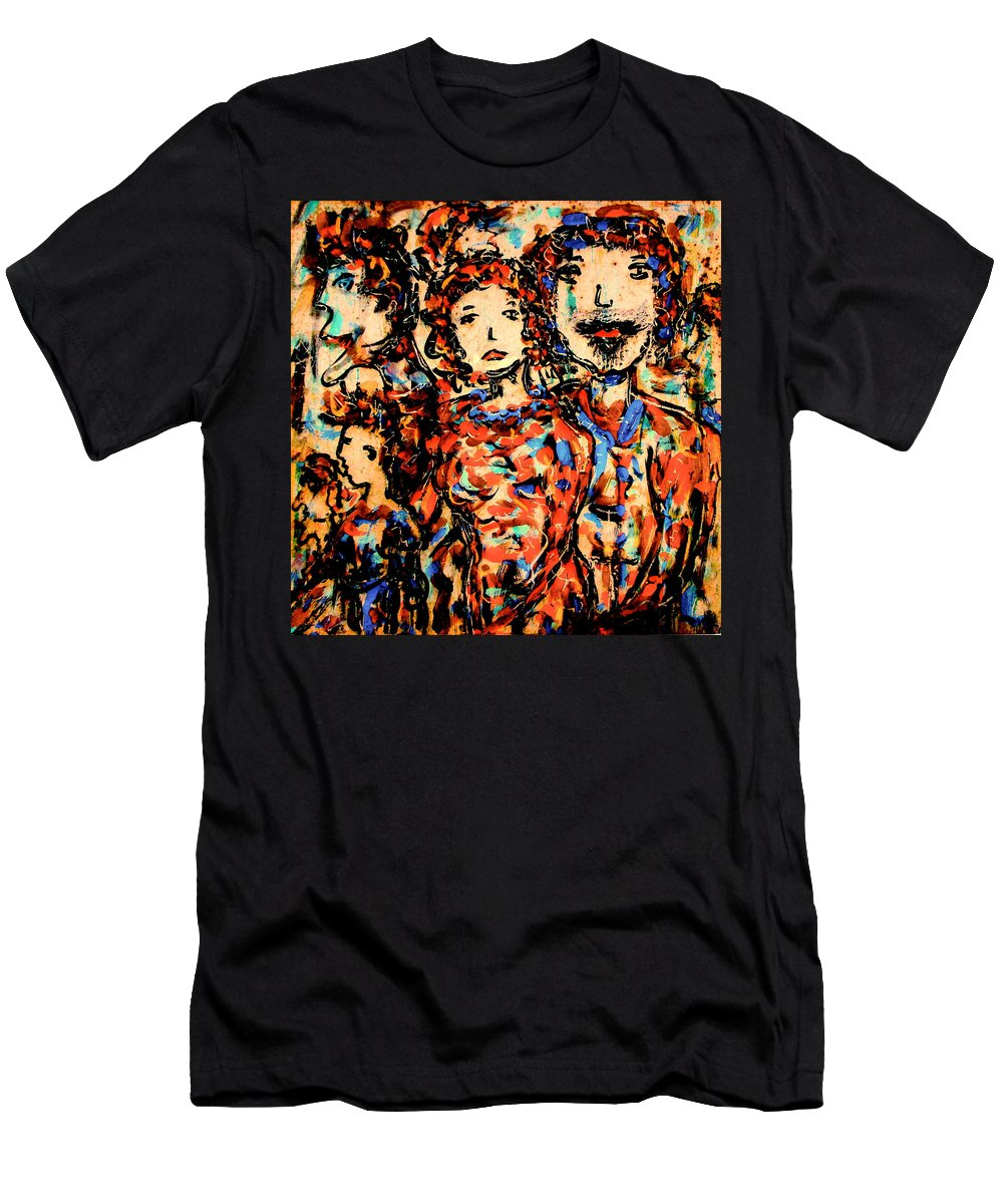Figurative Art Men's T-Shirt (Athletic Fit) featuring the painting Family And Friends by Natalie Holland