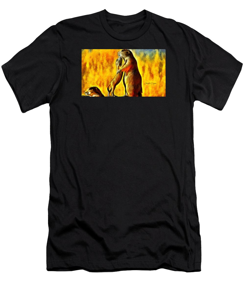 Rodents Men's T-Shirt (Athletic Fit) featuring the painting Family by Leonardo Digenio