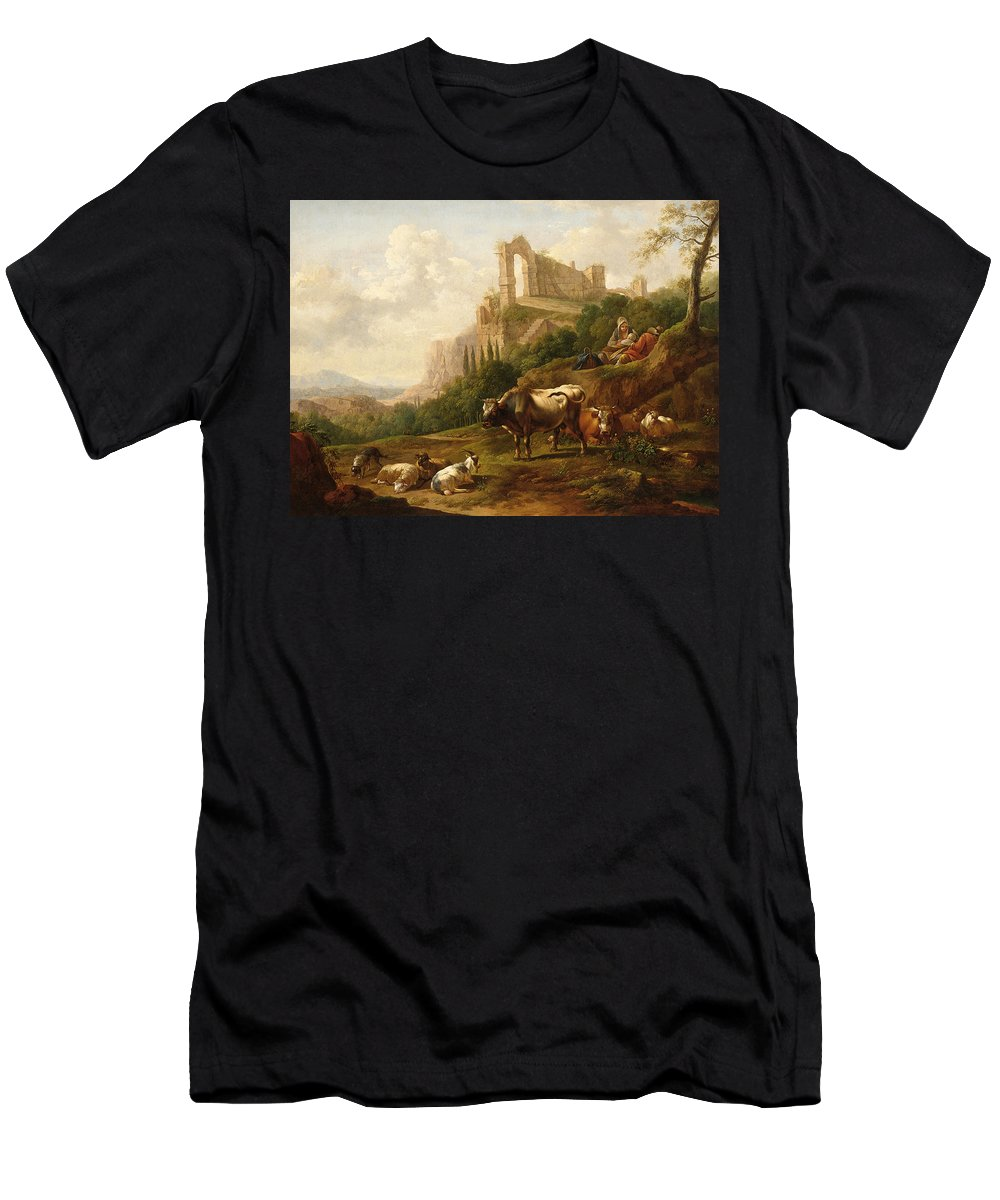 Joseph Roos - Vienna 1726 - 1805 A Family Of Herdsmen And Their Cattle Men's T-Shirt (Athletic Fit) featuring the painting Family Of Herdsmen And Their Cattle by MotionAge Designs