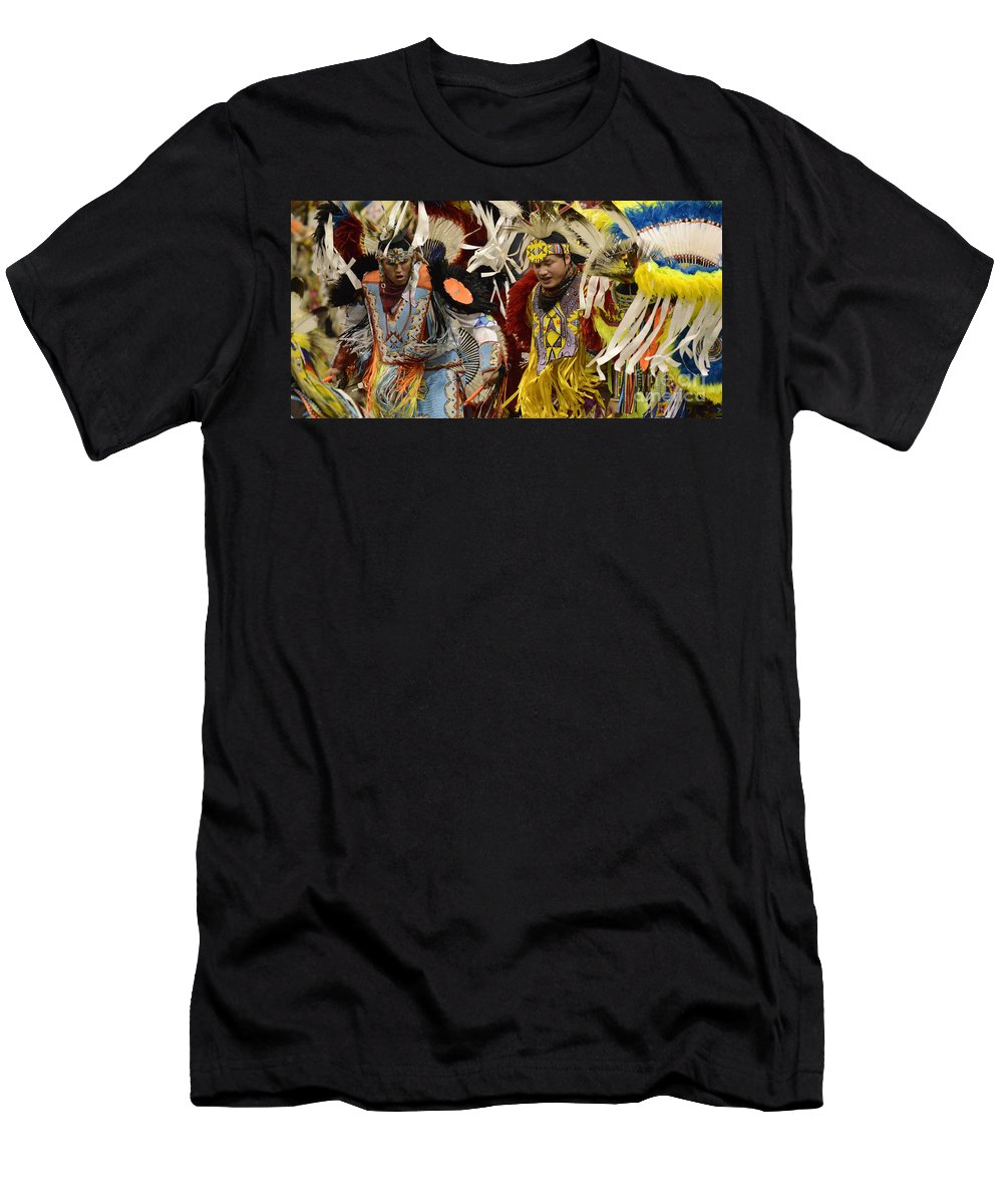 Pow Wow Men's T-Shirt (Athletic Fit) featuring the photograph Pow Wow Fancy Dancers 7 by Bob Christopher