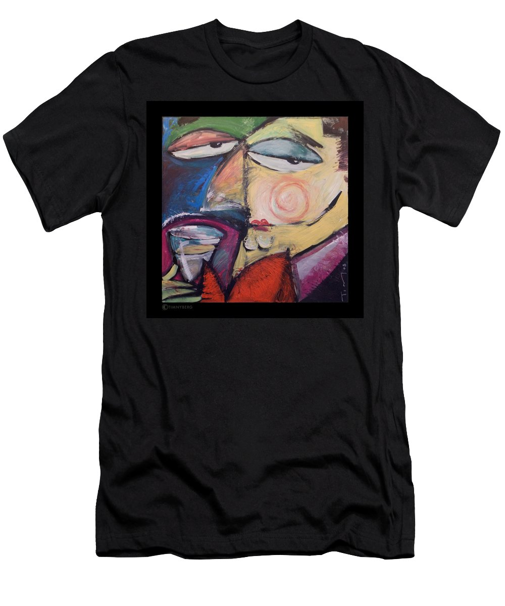 Humor Men's T-Shirt (Athletic Fit) featuring the painting Fancy Man At Art Opening by Tim Nyberg