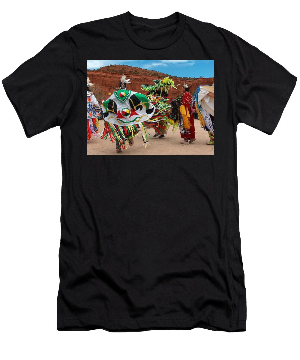 Fancy Shawl Dancer Men's T-Shirt (Athletic Fit) featuring the photograph Fancy Shawl Dancer At Star Feather Pow-wow by Tim McCarthy