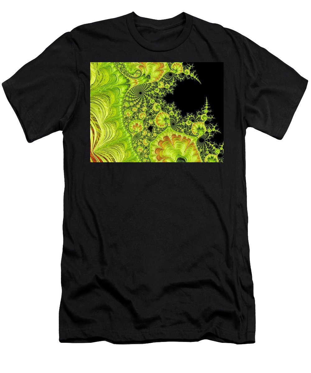 Abstract Men's T-Shirt (Athletic Fit) featuring the photograph Fantastic Abstract On Black by Barbara Zahno