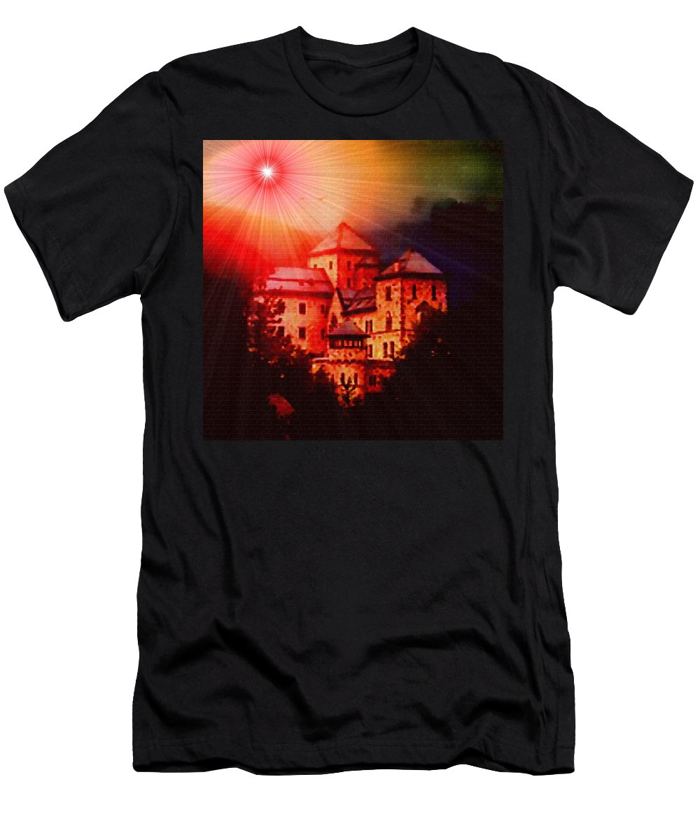 Announcement Men's T-Shirt (Athletic Fit) featuring the photograph Fantasy Castle For Mandy Maxwell H B by Gert J Rheeders