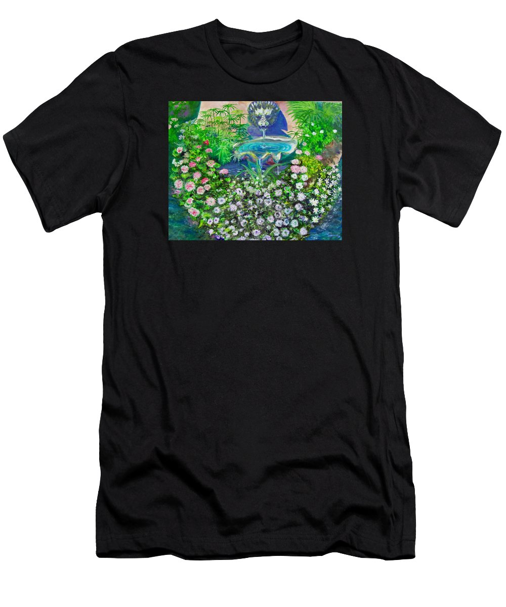 Fountain Men's T-Shirt (Athletic Fit) featuring the painting Fantasy Fountain by Michael Durst