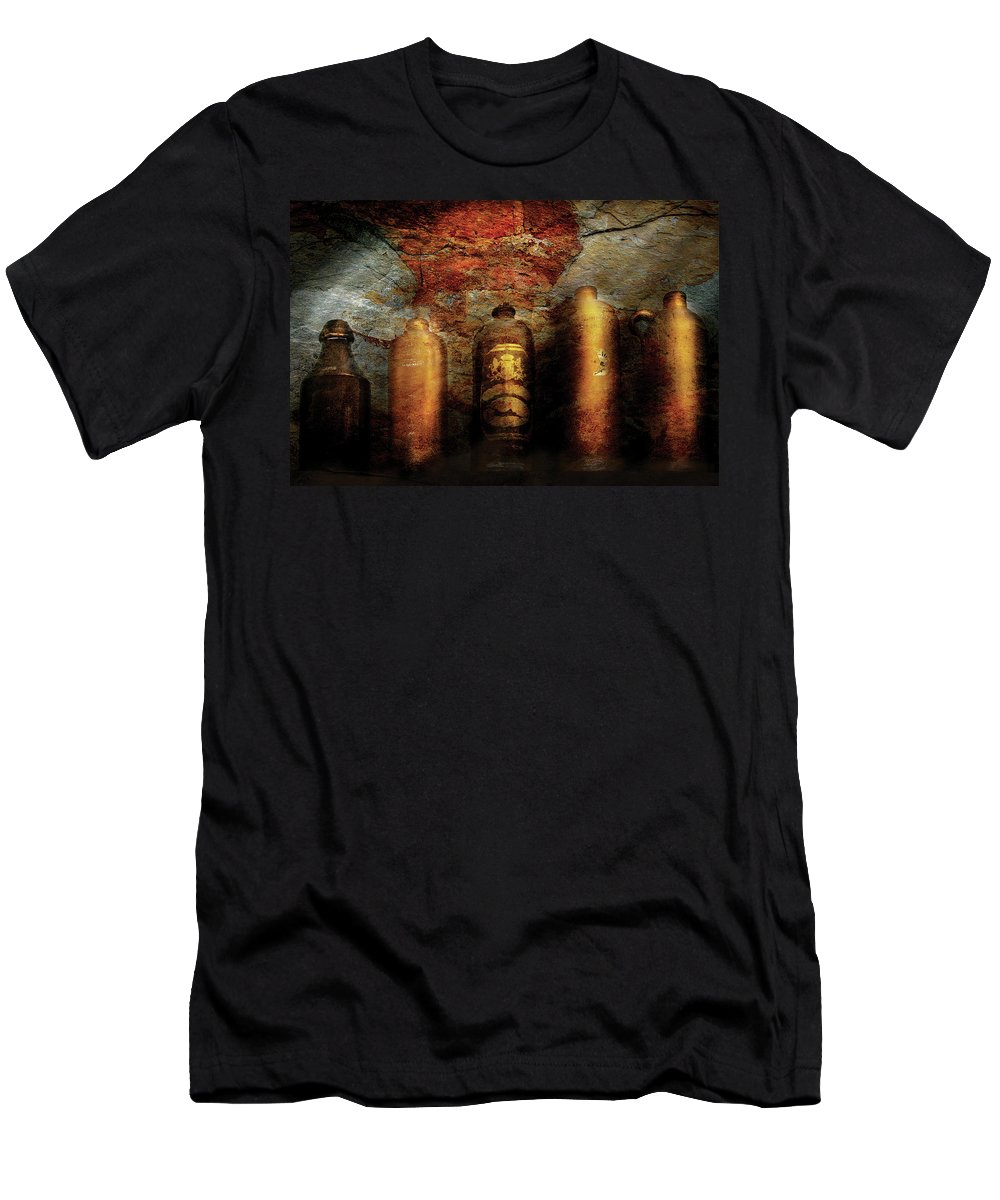 Savad Men's T-Shirt (Athletic Fit) featuring the photograph Farm - Bottles - Ceramic Bottles by Mike Savad