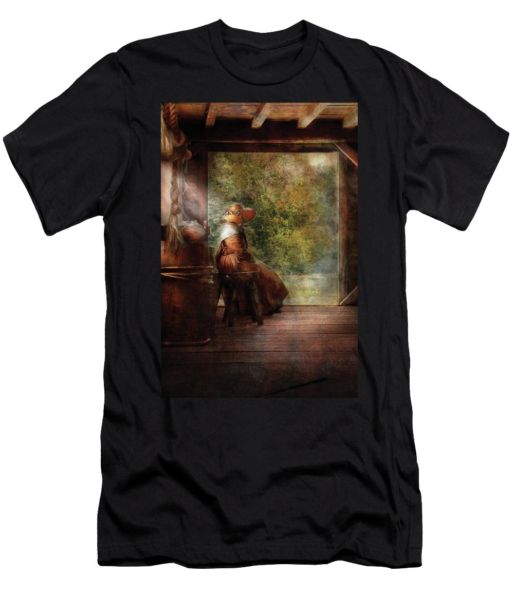Savad Men's T-Shirt (Athletic Fit) featuring the photograph Farm - Farmer - Mother by Mike Savad