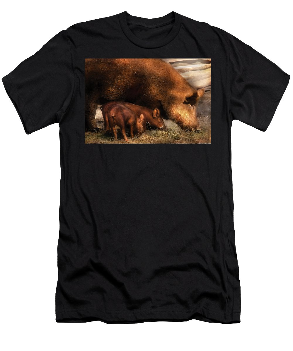 Savad Men's T-Shirt (Athletic Fit) featuring the photograph Farm - Pig - Family Bonds by Mike Savad