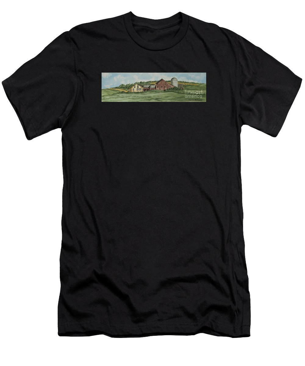 Barn Painting Men's T-Shirt (Athletic Fit) featuring the painting Farm In Summer by Charlotte Blanchard