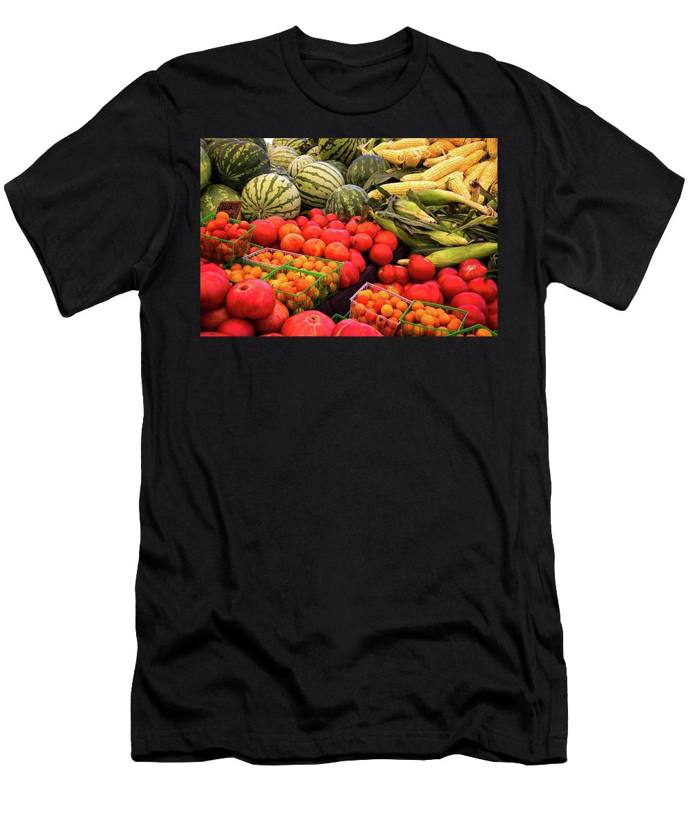 Produce Men's T-Shirt (Athletic Fit) featuring the photograph Farm To Market Produce - Melons, Corn, Tomatoes by Lynn Bauer
