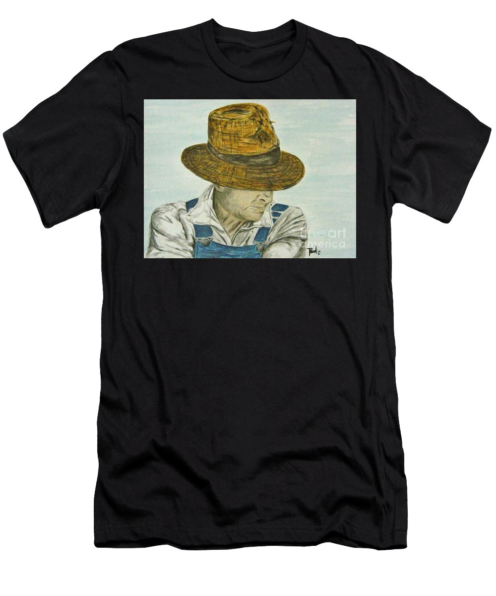 Portrait Men's T-Shirt (Athletic Fit) featuring the painting Farmer Ted by Regan J Smith