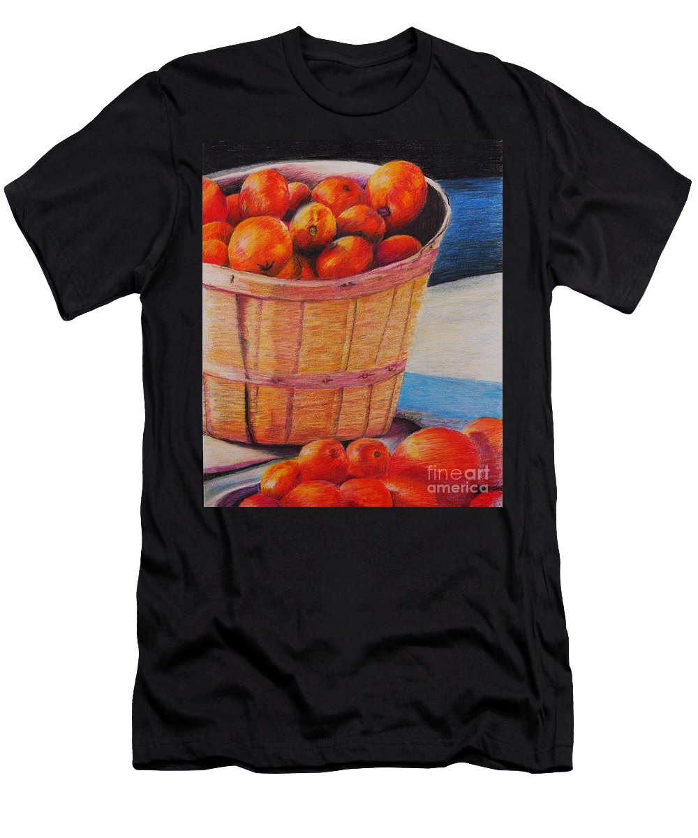 Produce In A Basket T-Shirt featuring the drawing Farmers Market Produce by Nadine Rippelmeyer
