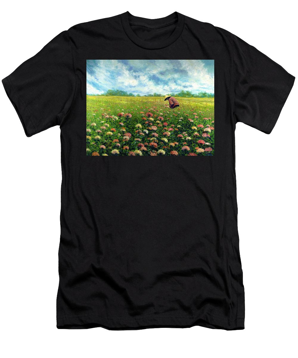 Men's T-Shirt (Athletic Fit) featuring the painting Farmstand Flower Lady by Tony Scarmato