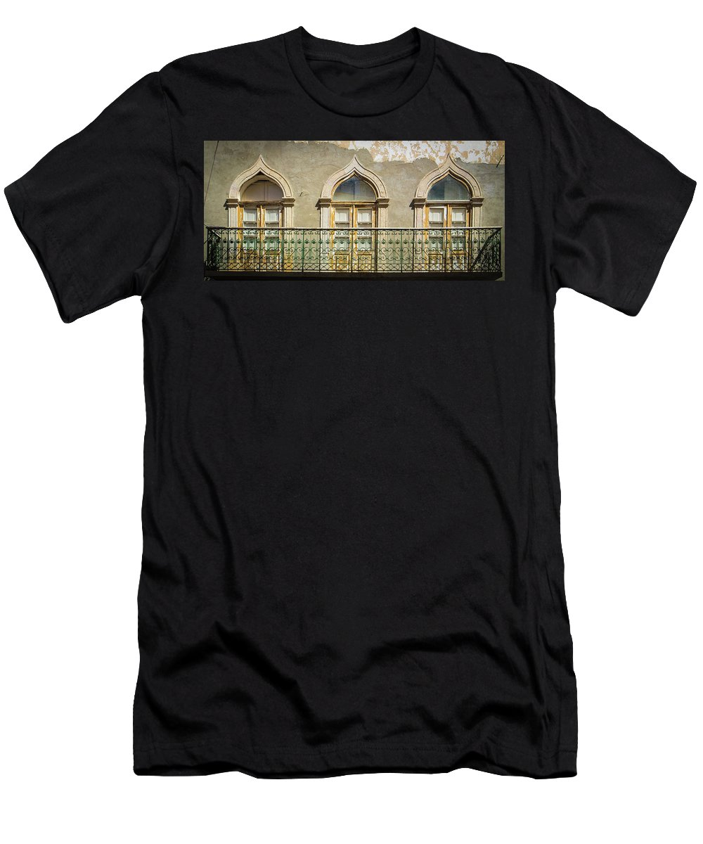 Faro Men's T-Shirt (Athletic Fit) featuring the photograph Faro Balcony by Nigel R Bell