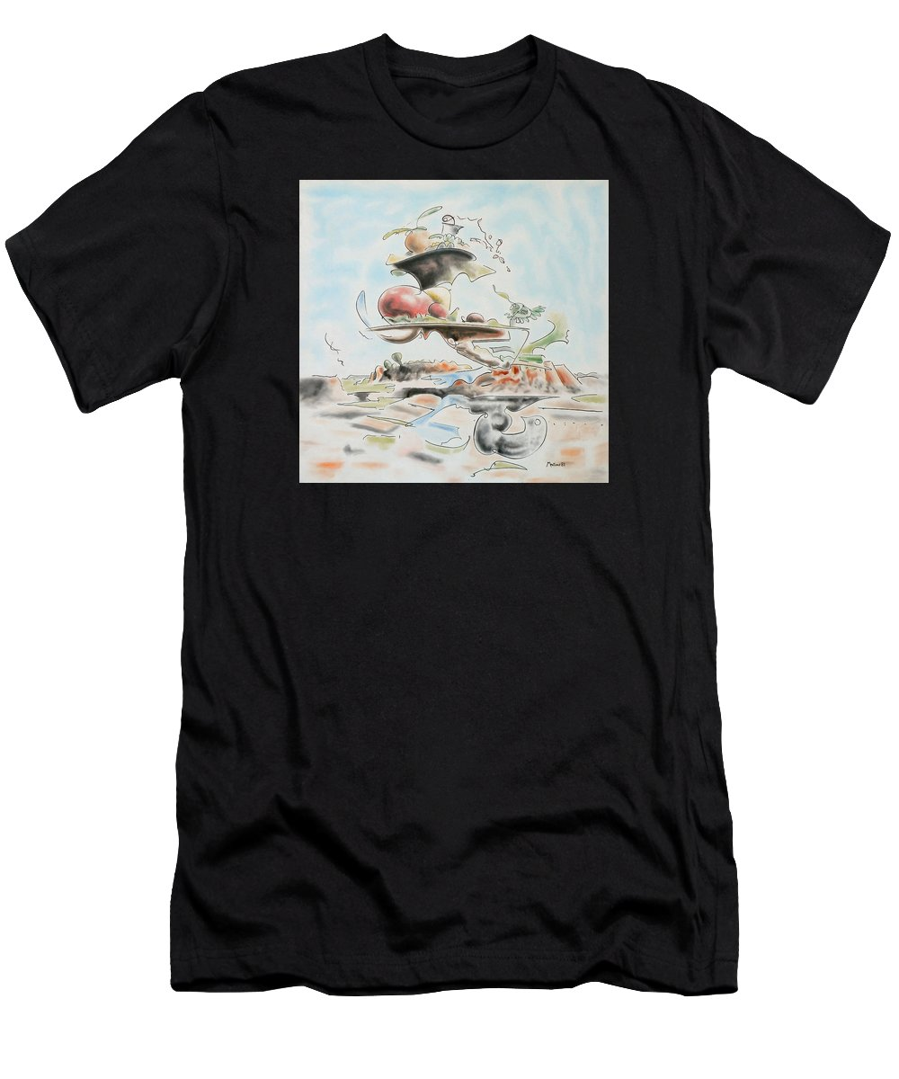 Abstract Men's T-Shirt (Athletic Fit) featuring the painting Fast Food by Dave Martsolf