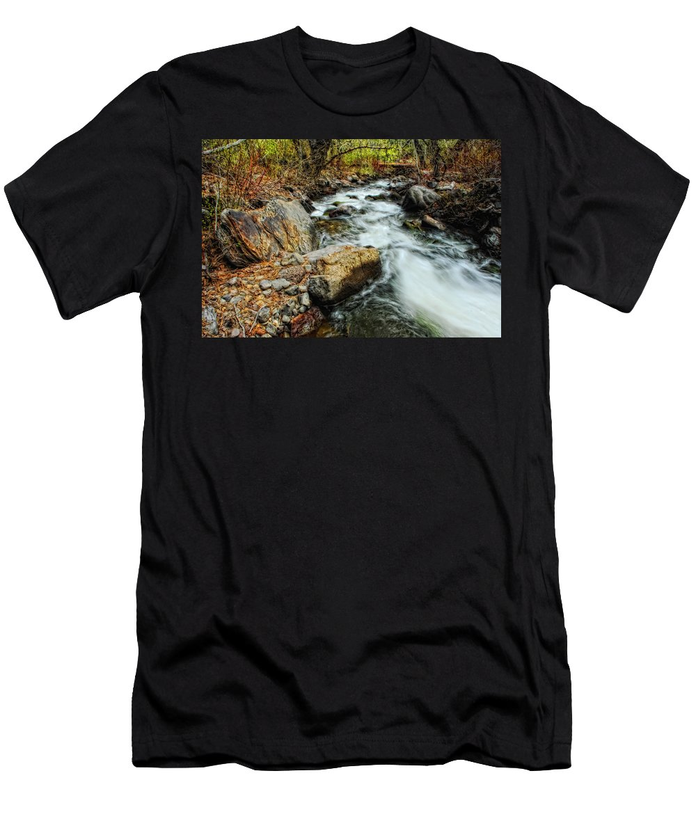 Creek Men's T-Shirt (Athletic Fit) featuring the photograph Fast Forward by Donna Blackhall