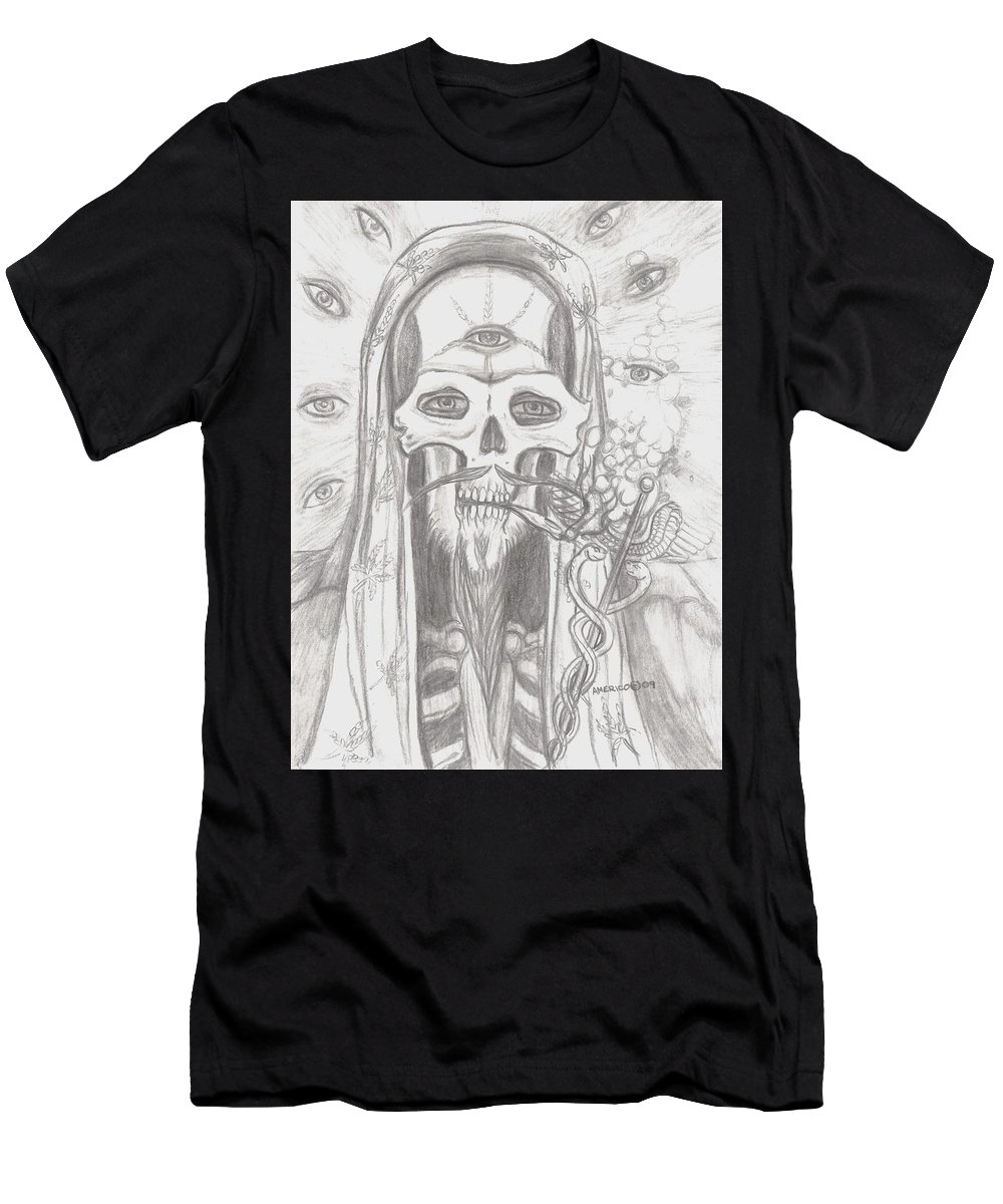 Skeleton.eyes Men's T-Shirt (Athletic Fit) featuring the drawing Father Health And Wisdom by Americo Salazar