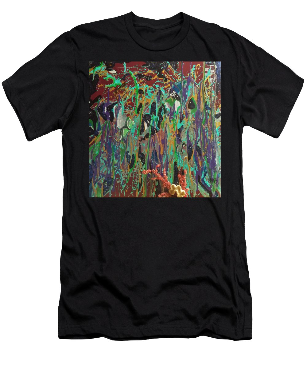 Sea Men's T-Shirt (Athletic Fit) featuring the painting Fathoms by Tracy Mcdurmon