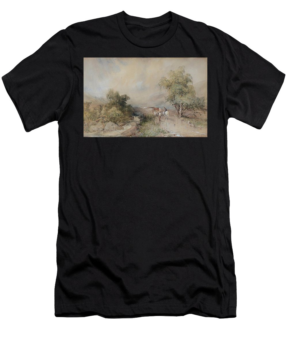 Frederick William Hattersley (inghilterra 1859 ) Men's T-Shirt (Athletic Fit) featuring the painting Fattori Acquarello Su Cartone by MotionAge Designs