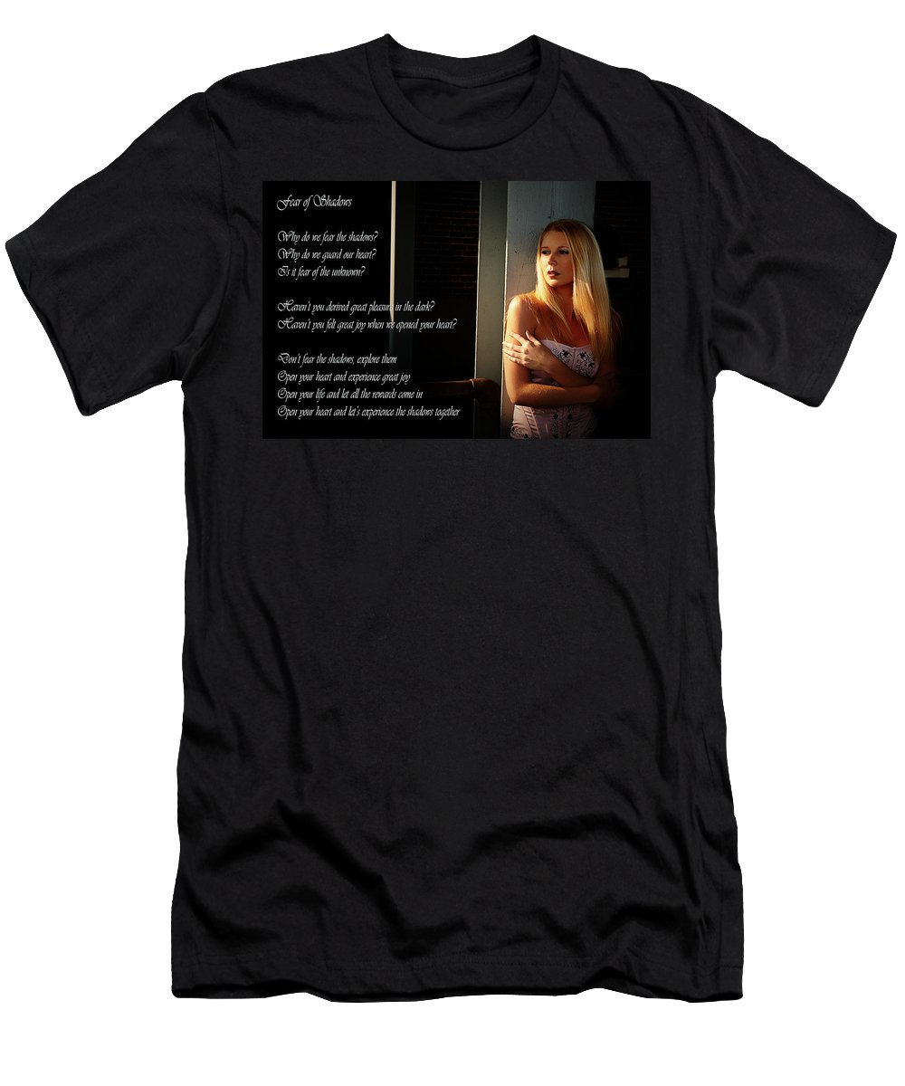 Clay Men's T-Shirt (Athletic Fit) featuring the photograph Fear Of Shadows by Clayton Bruster