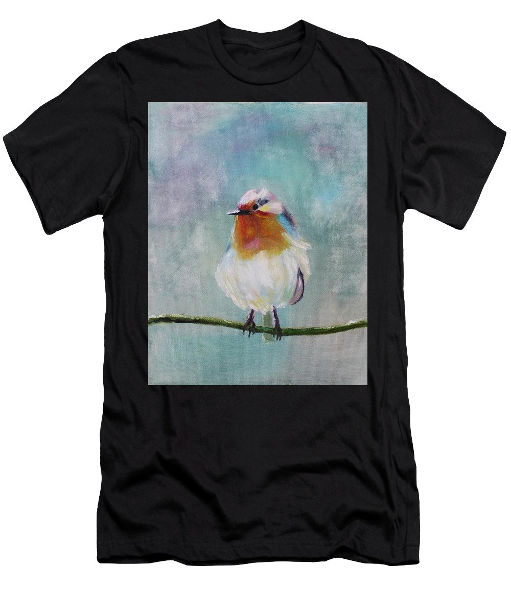 Birds Men's T-Shirt (Athletic Fit) featuring the painting Feathered Friends First In Series by Julie Lourenco