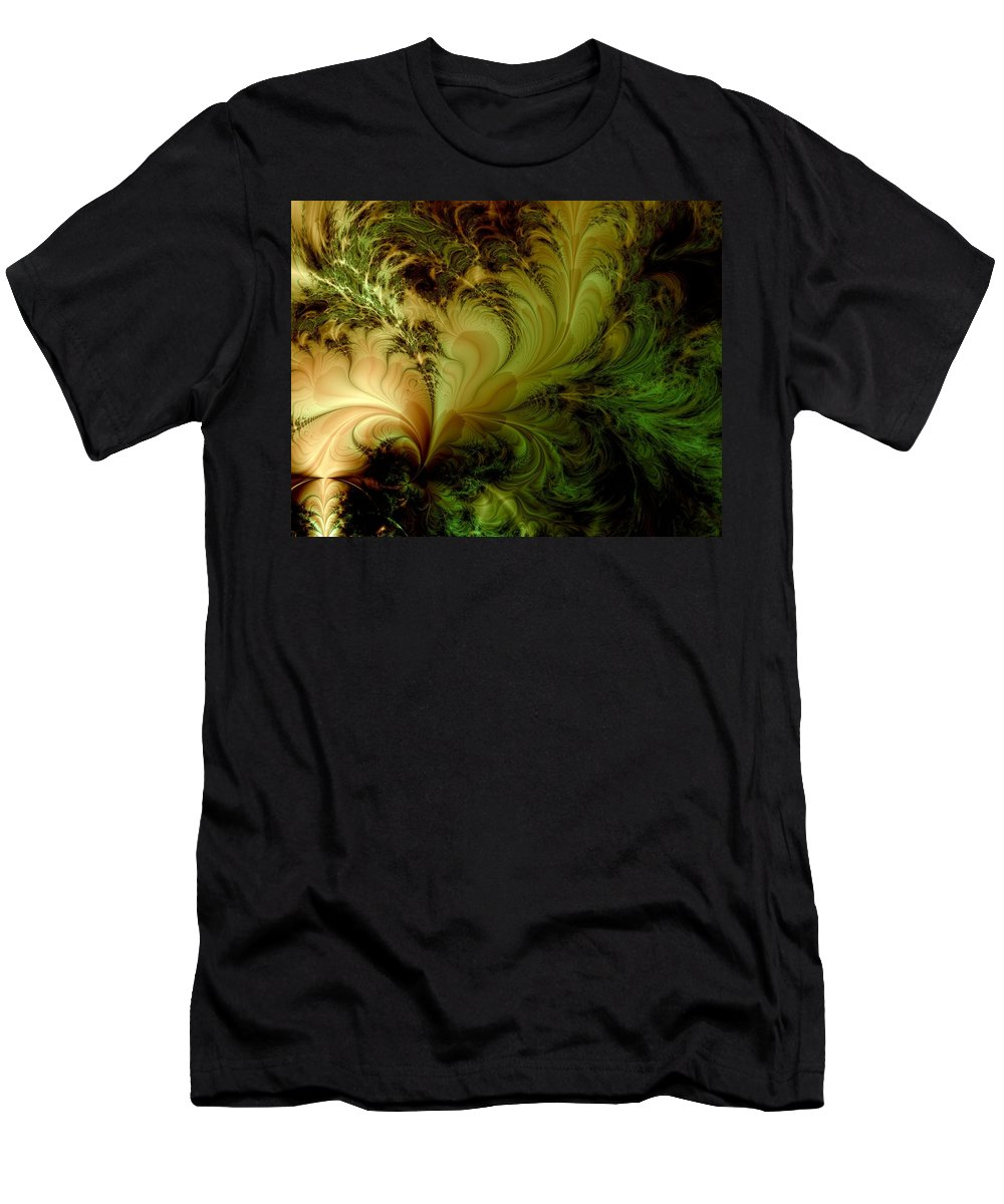 Feather Men's T-Shirt (Athletic Fit) featuring the digital art Feathery Fantasy by Casey Kotas