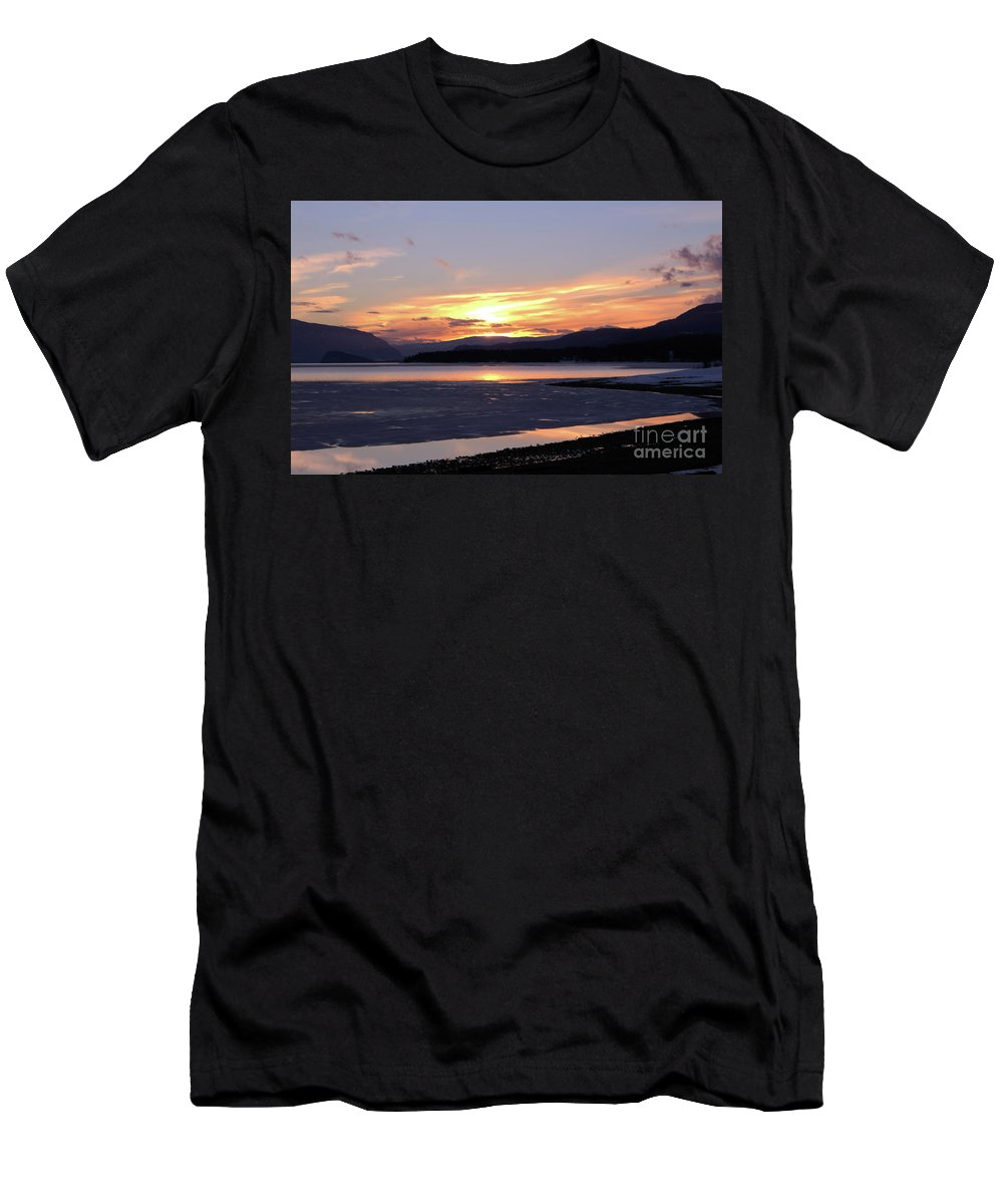 Sunset Men's T-Shirt (Athletic Fit) featuring the photograph February Sunset by Victor K